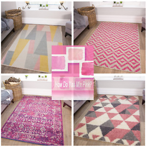 New Pink Blush Modern Geometric Large Area Rugs UK Easy Clean