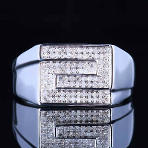 Men's Jewelry Sterling Silver 925 Band Pave Engagement Wedding Diamonds Ring