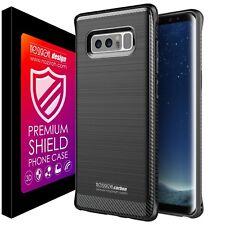 Custodia Carbonio Samsung Note 8 Cover Case Spessa Antiurto Rinforzata Nera Full