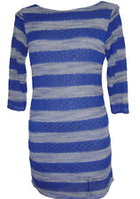 """""""NEW"""" TRANSAT BOUTIQUE ROBE """"S3SS"""" SEQUINS RAYURES BLEU TAILLE M = 38/40"""