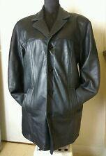 Attraction Designer Mens Black Real Leather Blazer Winter Jacket Coat Size S