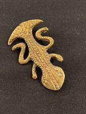 "Vintage Signed Tipicol D.P.E Brass Detailed Lizard Salamander Gecko Brooch 2"""