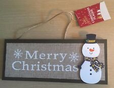 BNWT New Hanging Christmas Wooden Plaque - Merry Christmas Snowman - 26x10.5cm