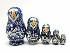 Russian Winter Hand Carved Hand Painted UNIQUE Nesting Doll Set ArtWork