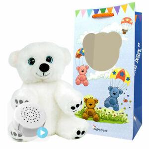 8 inch Snowy Polar Bear - Pre-Stuffed Baby Heartbeat Teddy Bear & Voice Recorder