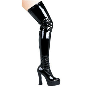 """Ellie Shoes Sexy Thigh High Chunky 5"""" Heels Halloween Costume Black Boots THRILL"""