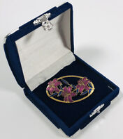 Vintage Brooch Gold Tone Enamel Cloisonne Flowers Cute Pretty Costume Jewellery