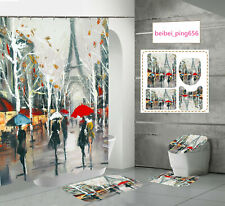 Oil Painting Paris Print Shower Curtain Bathroom Rug Set Toilet Lid Cover Mat