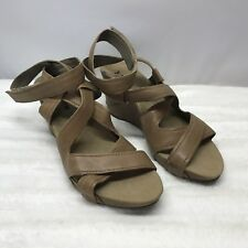 Romika Sandals Size 41 US 10 Women Beige Leather Ankle Strap Wedge Shoe