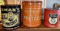 Vintage Set of 3 Pretzels/Potato Chip Tin Advertising Cans