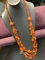 Vintage Multi 7 Strand Orange Waterfall Seed Bead Bohemian Long Necklace 36""