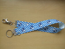 Handmade Boston Terrier Bag Key Finder Charm Long Fob Ring Pup Dog Blue Bone