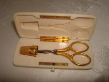 Vintage Collectible 18k Gold Thimble Scissors Purse Travel Set