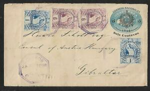GUATEMALA TO GIBRALTAR MULTIFRANKED COVER 1898 EXHIBITION PIECE