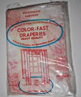 Vtg Draperies 3 Panel VELOURETTE  Plastic Window Looks like Fabric Red Gold 341