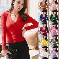 Women V-Neck Sweater Pullover Slim Fit Long Sleeve Knit Shirt Blouse Top JIMSHOP