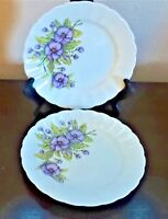 K & A German Selb Bavaria Salad Plates x2 Purple Flowers & Green Leaves