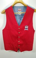 VTG LOONEY TUNES Red Vest Men's Button Down Lined Sylvester Club Embroidered SM