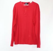 Vintage 80s Woolrich Mens Large Long Sleeve Casual Henley T Shirt Red Cotton