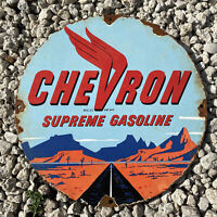 VINTAGE 1940 CHEVRON GASOLINE PORCELAIN SIGN USA OIL GAS STATION PUMP PETROLIANA