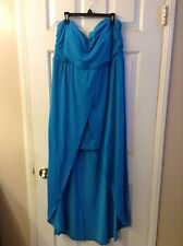 Juniors No Boundaries Caribbean Blue Hi Lo Strapless Maxi Dress: Size 15/17