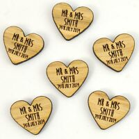 Personalised Rounded Heart Shaped Wooden Wedding Table Confetti Rustic Barn Chic