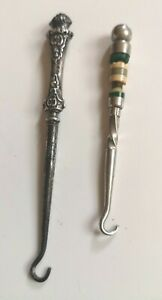 Antique Sterling silver hallmarked Button hook + another