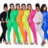 Women Long Sleeves Solid Color Pockets Zipper Pants Jumpsuit Casual Outfits 2pcs