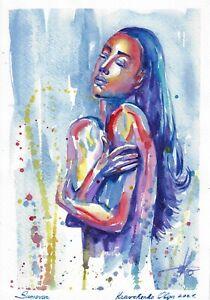original painting 22 x 31,5 cm 464KO art samovar Modern watercolor female nude