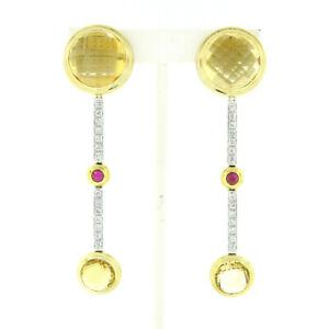 Antonini 18K TT Gold Bezel Citrine Diamond & Ruby Long Dangle Day Night Earrings