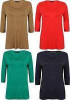 LADIES TUNIC TOP SOFT EX FAMOUS STORE RED NAVY GREEN CAMEL SIZE 8 - 24 NEW  3/4