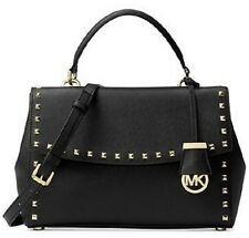 New MICHAEL KORS AVA Studded Saffiano Leather Medium top handle BLACK Gold stud