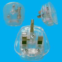 13A UK 3 Flat Pin Mains Plug, Clear No Colour Transparent See Through Novelty