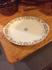 Vintage Taylor Smith Taylor Medium Oval Floral Scrolls Gold Trim Serving Platter