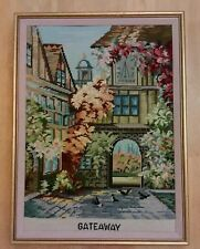 Framed Needle Point Wall Art Completed Gateaway Courtyard Town Clock Cobblestone