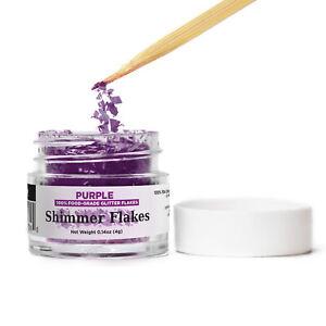 Purple Edible Shimmer Flakes 4g Jar Edible Glitter Freezer & Bake Safe Flakes