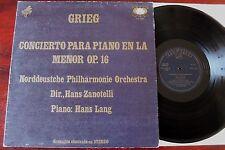 Grieg Piano ul Lp Lang ZANOTELLI ZAFIRO Zor 5024 casi como nuevo-España (1973)