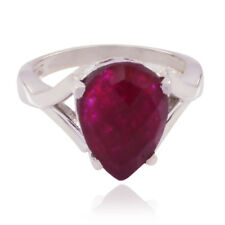 Lucky Gemstone  Pear Chakra Indainruby ring - 925 Sterling Silver Red  AU