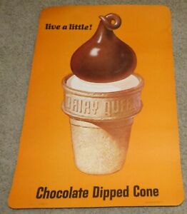 Vtg 1966 Dairy Queen Store POS Advertising Sign Poster - Chocolate Dipped Cone