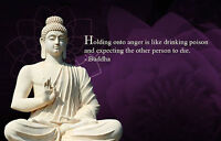 Framed Print - White Stone Buddha with Purple Flower & Buddhist Quote (Picture)