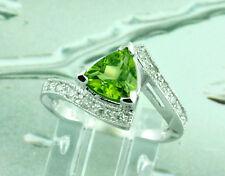 14k Solid White Gold 1.76 ct  VVS Natural Trillion Peridot Natural Diamond Ring