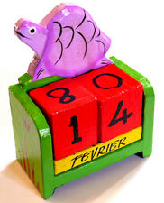 CALENDRIER PERPETUEL BOIS CUBES BALI WOODEN PERPETUAL CALENDAR tortue turtle