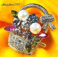 Beautiful Basket Of Flowers Brooch / Scarf Pin With Crystals Silver Plated