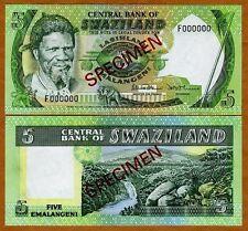 SPECIMEN, Swaziland, 5 Emalangeni, (1984) P-9s2, UNC