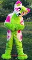 Hot #Adult Unisex Long Fur Fox Green Husky Dog Mascot Costume Suit Cosplay Dress