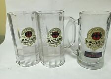 Bacardi Oakheart Glass Mug Beer Stein 13 Ounce Glass Lot Of three