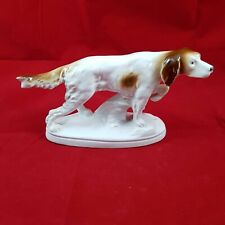 Jagdhund Setter Porzellan Figur Unterglasurstempel Krone S GDR Tierfigur