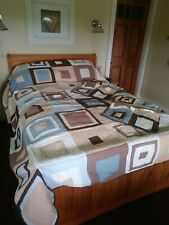 Nice Company Store Full Queen Patchwork Quilt Spread Set With Shams Brown Blue