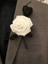 White Rose Button Hole With Fern ,Black Ribbon And Heart. Wedding Flowers.