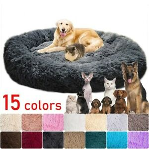 Long Plush Dog Bed Cushion Large Dogs Bed House Pet Round Donut Cushion Bed